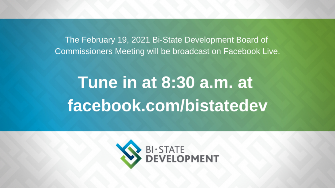 Blue, green and white graphic that says the February 19, 2021 Board Meeting will be virtual on the BSD Facebook page