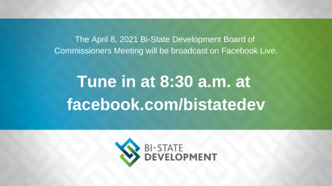 Blue, green and white graphic that says the April 8, 2021 Board Meeting will be virtual on the BSD Facebook page