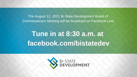 Blue, green and white graphic that says the August 12, 2021 Board Meeting will be virtual on the BSD Facebook page