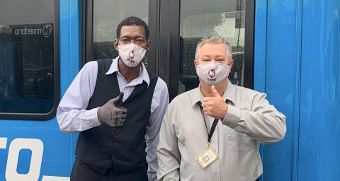 Metro Call-A-Ride Operators of the Year, Jerome Papkin and James Belleville celebrate with a thumbs up!